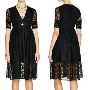 Free People Mountain Laurel Black Lace Dress Sz 6